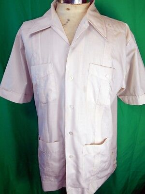 Vintage Light Brown Short Sleeve Poly/Cotton Guayabera Mexican Wedding Shirt L