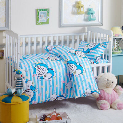 Blue Doraemon New Baby Bedding Crib Cot Set Quilt Cover Padded Cotton Nursery
