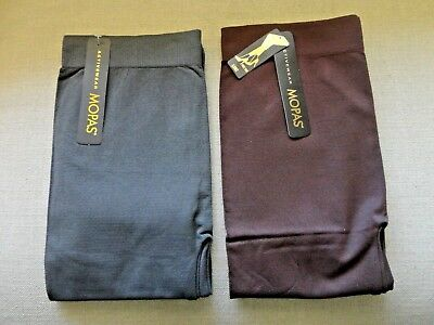 Mopas Women's Stretch Footless Tights Activewear 2 Pack Charcoal Brown Free Size