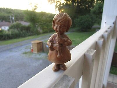 Vintage~ Hand Carved Wooden Figurine Little Girl Playing Flute~~~!!
