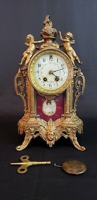 Antique French  Figural Cast-Metal   Mantle Clock