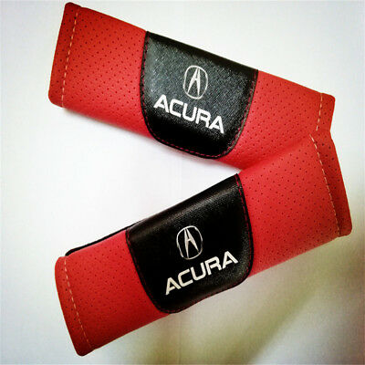 New 2PCS Red Leather Car Seat Belt Cover Shoulder Pad For Acura