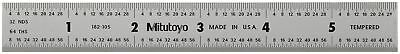"""Mitutoyo 182-105, Steel Rule, 6"""" X 150mm, (1/32, 1/64"""", 1mm, 1/2mm), 3/64"""" Thick"""