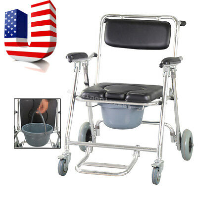 Transport Shower Bedside Commode Folding Wheelchair Toilet Chair Aluminum Fedex