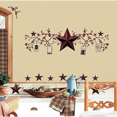 RoomMates RMK1276SCS Country Stars and Berries Peel  Stick Wall Decals, 40 Count