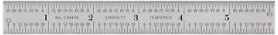 "Starrett C604RE-6 Spring Tempered Steel Rule With Inch Graduations, 6"" Length,"