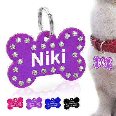 Personalized Dog Tags Engraved Cat Puppy Pet ID Name Collar Tags Bone Rhinestone