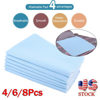 2/4/6Pcs Reusable Washable Bed Pads Waterproof Incontinence Hospital Underpads