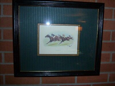 George Wright Rare Racehorse Watercolor-Signed and Numbered-Vivid Coloring
