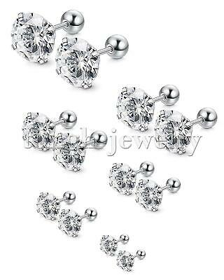 Women Men Stainless Steel White Cubic Zirconia Stud Earrings Screw Back Gift 2pc
