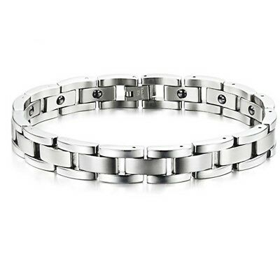 Silver Tone 316 Stainless Steel Magnetic Therapy Health Care Men Energy Bracelet