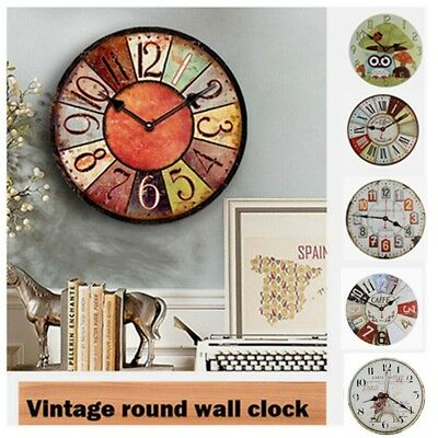 Room Antique Decor Wall Clocks Decoration Clock Shabby Chic Retro Kitchen US