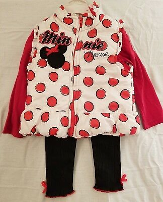 Disney Minnie Mouse Toddler Girls Outfit Set Shirt/Pants/Vest Red/Blk/Wht Sz 3T