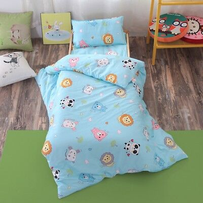 Blue Cute Animal New Baby Bedding Crib Cot Set Quilt Cover Padded Cotton Nursery