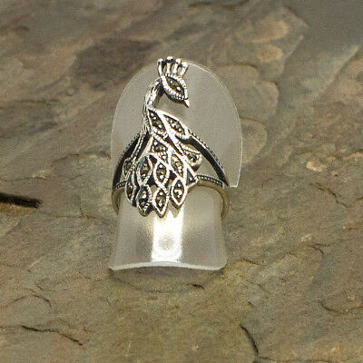 Marcasite Peacock Sterling Silver Ring
