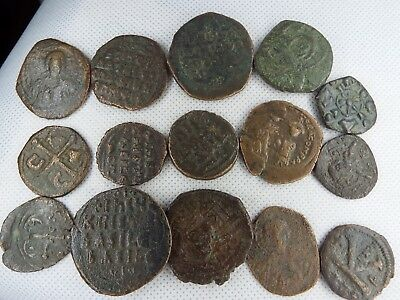 MC-8 MIXED LOT OF BYZANTINE  RARE ANCIENT COINS-- 15 pcs
