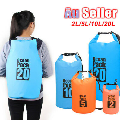 2L 5L 10L 20L Dry Carry Bag Sack Pouch Boat Kayak Waterproof Storage Backpack