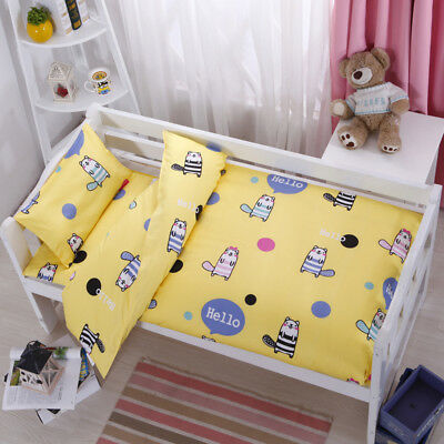 Yellow Cartoon New Baby Bedding Crib Cot Set Quilt Cover Padded Cotton Nursery