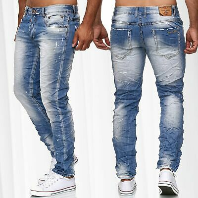 8496011078bf34 Herren Jeans Hose Knitter Vintage Denim Used Look Slim Fit Stone Washed  Crinkle