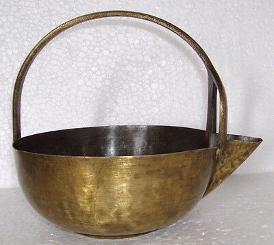 Old Brass Handcrafted Vegetable Pot | Pataaka Hand Forged Handle