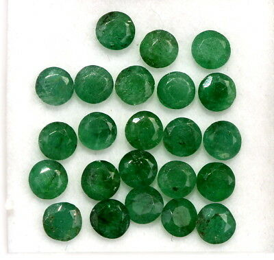 3.51 CTS Natural Emerald Round Cut 3.25 mm Lot 23 Pcs Untreated Green Gemstones