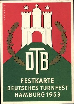 Ak Hamburg, Deutsches Turnfest 1953, Festkarte - 1951670