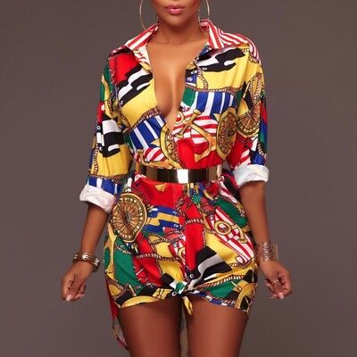 Traditional Lady African Dashiki Short Mini Dress Party Hippie Blouse Shirt Top