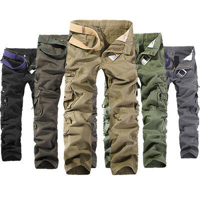 Military Army Cargo Solid Multi-pockets Trousers Work Slacks Pants Mens Casual