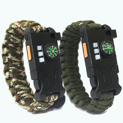 8 in 1 Paracord Survival Bracelet With Compass/Laser/LED Light/USB Charging/kit