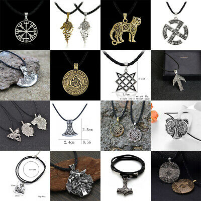 Viking Norse Thor's Hammer Gold Silver Pendant Leather Cord Myth Hammer Necklace
