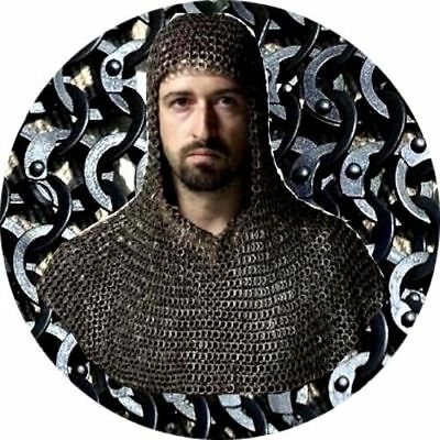 9 mm Medieval Coif Hood Flat Riveted Washer Black Mild Steel Chainmail Armour