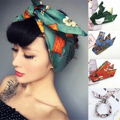 Women Vintage Flower Twist Knot Head Wrap Wire Hair Band Bow Knot Wired Headband