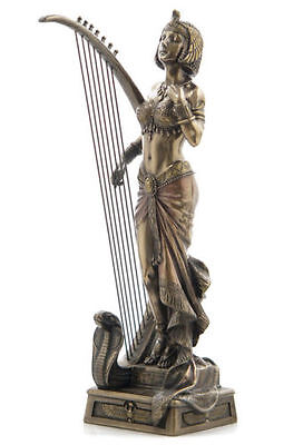 Cleopatra With Egyptian Harp Statue Sculpture Figurine - NEW IN BOX