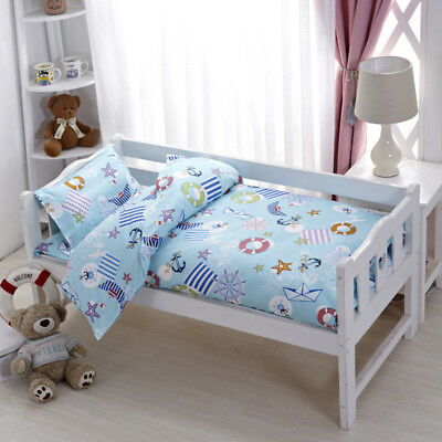 Blue Nautical New Baby Bedding Crib Cot Set Quilt Cover Padded Cotton Nursery