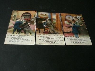 Bamforth 3 postcard set , Songs Series No 4993, What Did You Do In The Great War