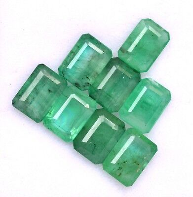 Certified Natural Emerald Octagon Cut 7x5 mm Lot 08 Pcs Untreated Loose Gemstone