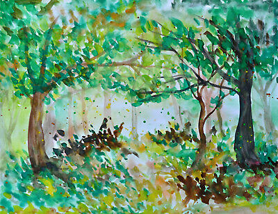 original watercolor painting of a green spring forest, trees, plants, landscape