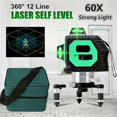 3D 12 Line 360° Laser Auto Self Leveling Vertical Horizontal Level Cross GREEN