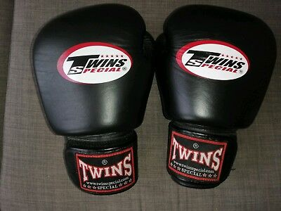 Genuine Twins special Black leather Boxing Muay Thai mma Gloves 16oz