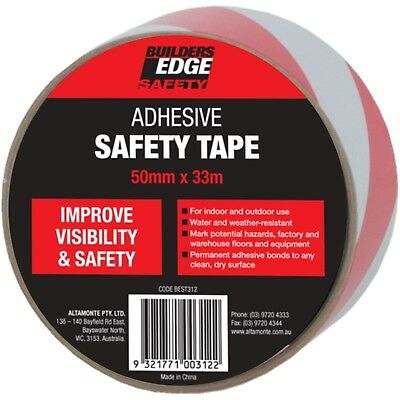 2x Builders Edge ADHESIVE SAFETY TAPE 50mmx33m Indoor/Outdoor Use RED/WHITE