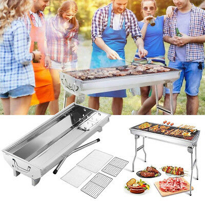 Faltbar BBQ Holzkohlegrill Edelstahl Klappgrill Standgrill Camping Grill Outdoor