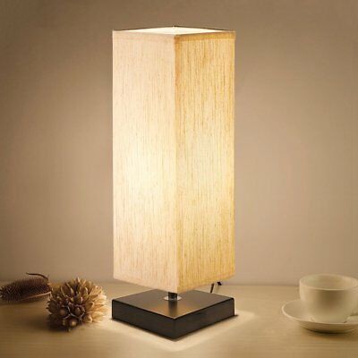 Aooshine Bedside Table Lamp, Minimalist Solid Wood Table Lamp Bedside Desk Lamp