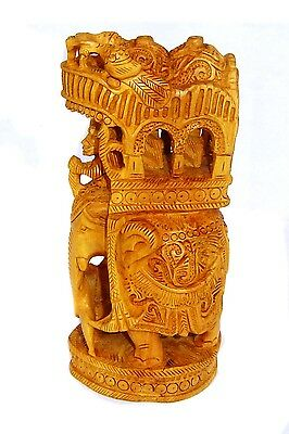 Wooden Royal Elephant Statue Hand Carving work Artistic Decorative Showpiece