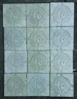 1x Original Antique Tile Vintage Art Nouveau Peacock Feather pattern  Old Green