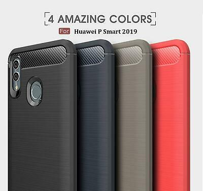 For Huawei P Smart FIG-LX1 Black Carbon Fibre Gel Case Cover + Tempered Glass