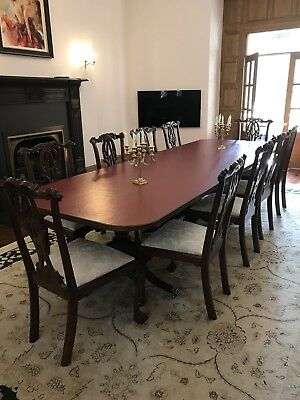 Mahogany Dining Table Extending Regency Pedestal Table 16 Feet Long 12 month old