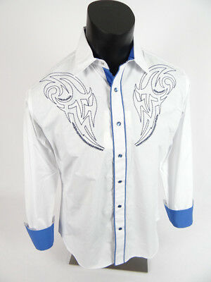 Mens DIAMOND Snap-Up WESTERN STYLE Shirt White with Nice Blue Embroidery