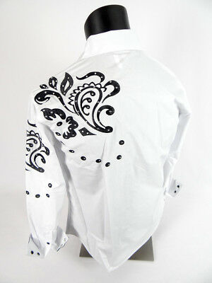 Mens DIAMOND Snap-Up WESTERN STYLE Shirt in White Silver Embroidery w/ STONES!