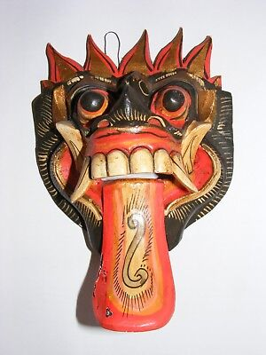Small Wood Bali Wall Hanging Mask Hand Carved