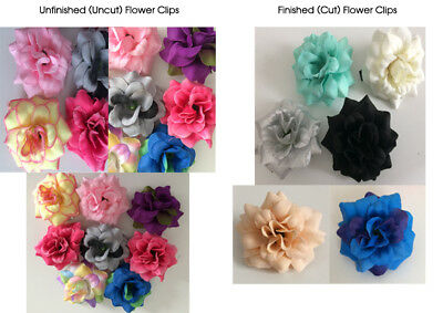 NEW Wholesale/Job Lot 10 x Fabric Flower Hair Clips, Many Colours,  UK Seller